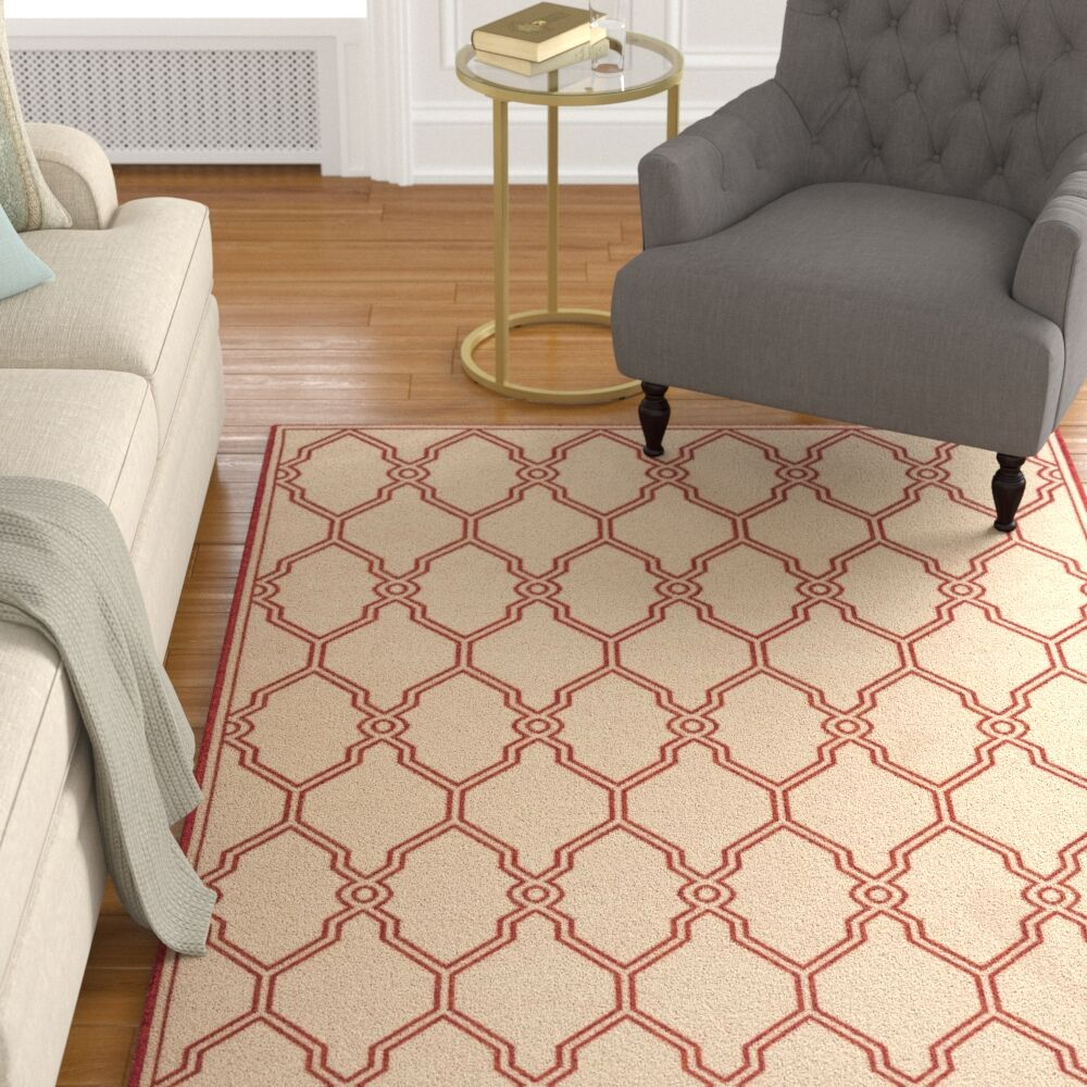 Karpinski Red/Cream Area Rug Rug Size: Rectangle 8' x 10'