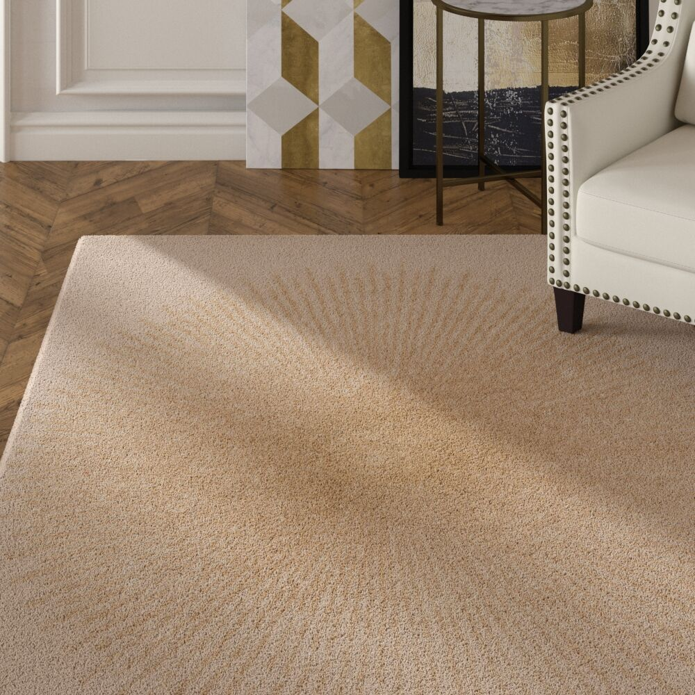 Tess Hand-Tufted Beige/Gold Area Rug Rug Size: Rectangle 7'6