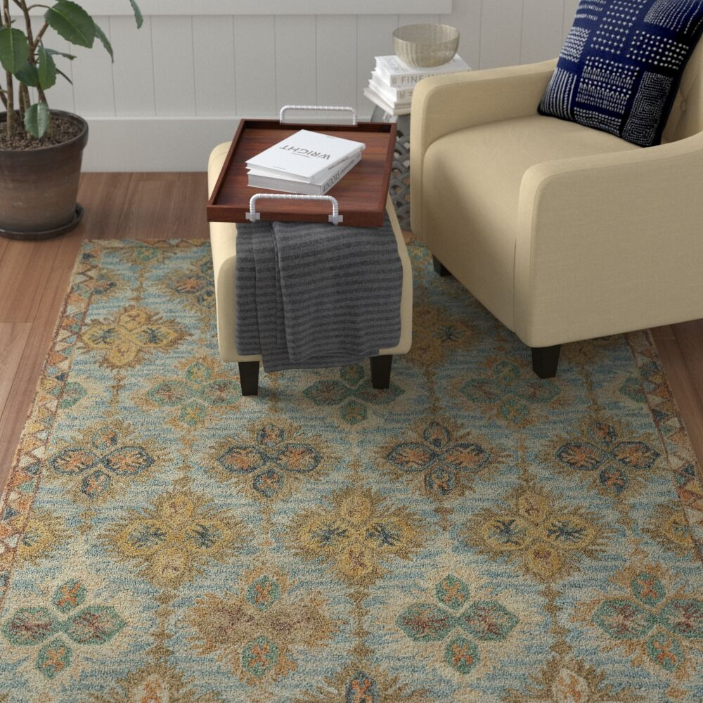 Jacqulyn Hand-Tufted Wool Blue/Beige/Red Area Rug Rug Size: 5' x 8'