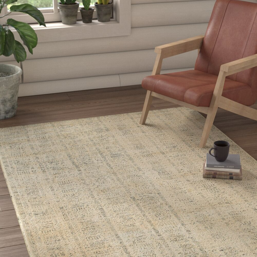 Runge Hand-Knotted Beige Area Rug Rug Size: Rectangle 10' x 14'