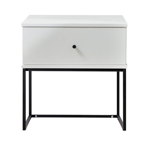 Parson Bedside 1 Drawer Nightstand Color: White/Black