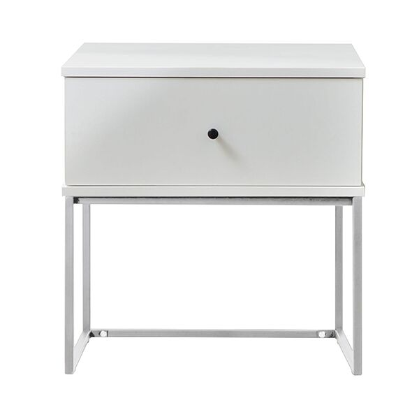 Parson Bedside 1 Drawer Nightstand Color: White