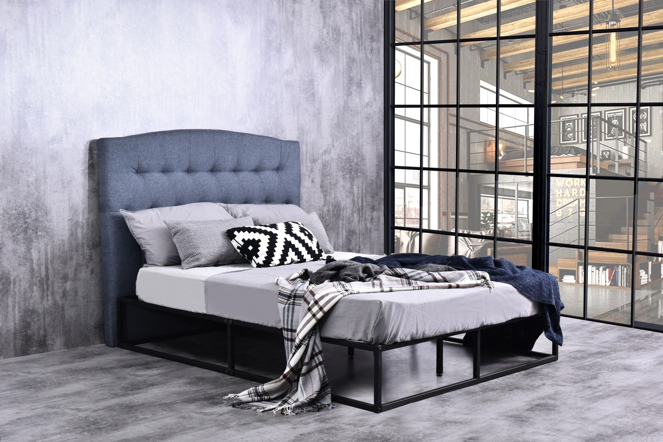 Katia Queen Upholstered Panel Bed
