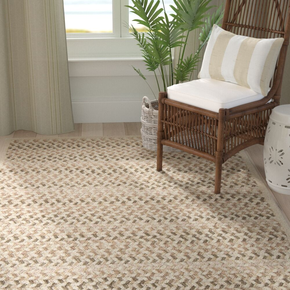 Arvie Striped Hand-Woven Natural Area Rug Rug Size: Square 6'