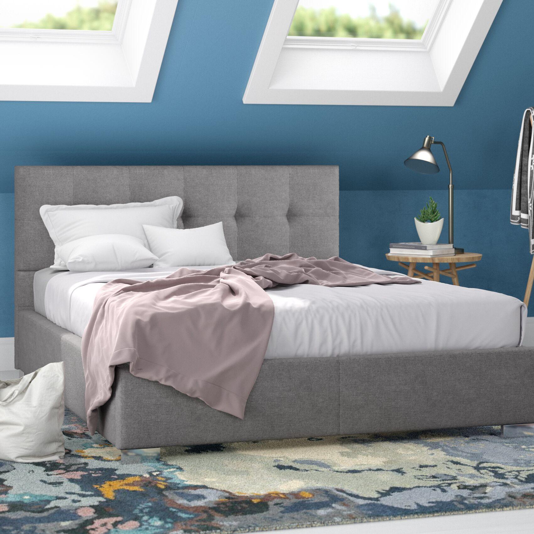 Trudeau Upholstered Platform Bed Color: Grey, Size: Queen