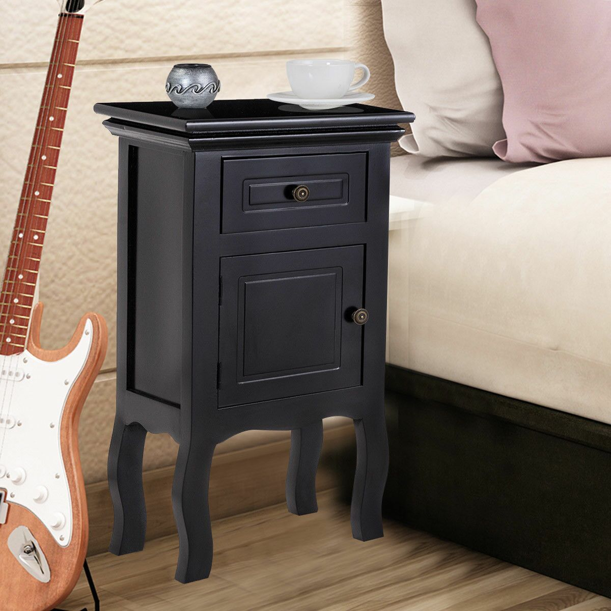 Goku 1 Drawer Nightstand Color: Black