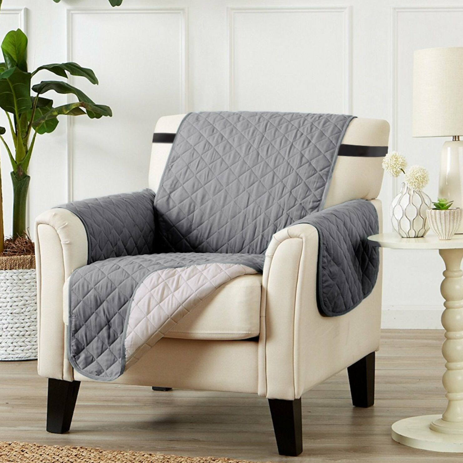T-Cushion Armchair Slipcover Upholstery: Gray/Beige