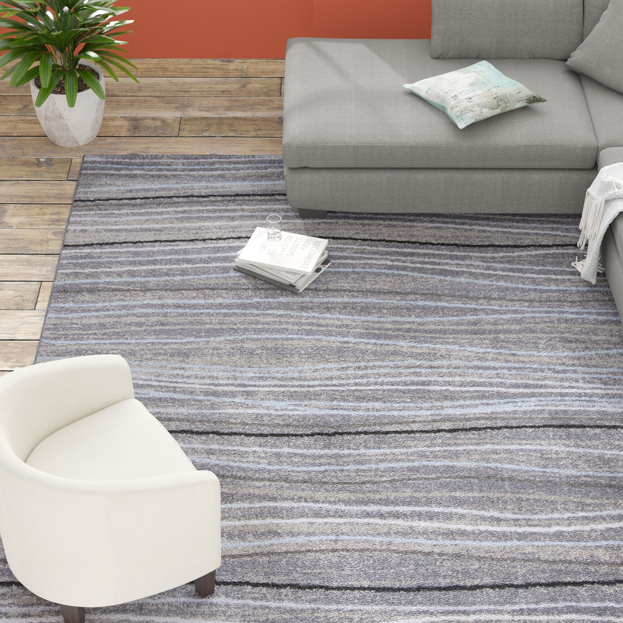 Quiros Silver/Beige Area Rug Rug Size: Rectangle 8' x 10'