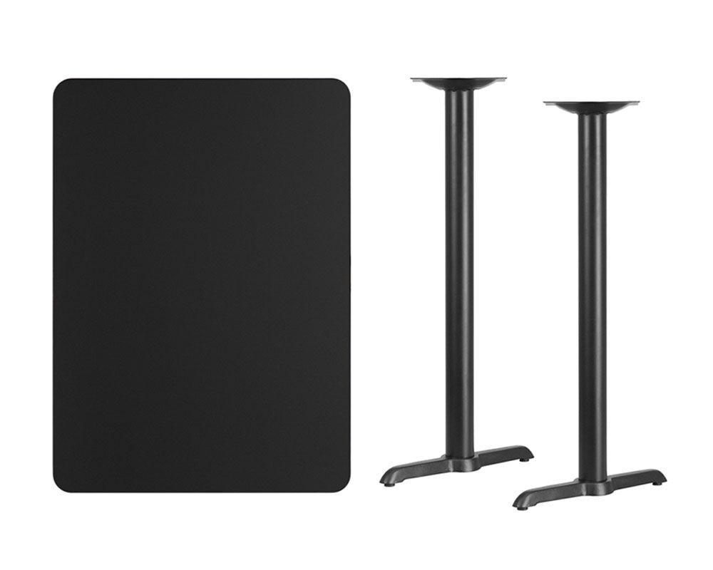 Coraline Rectangular Laminate Pub Table Color: Black, Tabletop Size: 42
