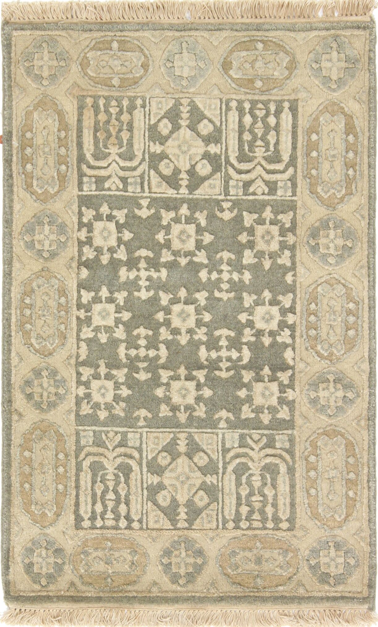 One-of-a-Kind Audra Indo Mamluk Hand-Knotted Wool Green Area Rug