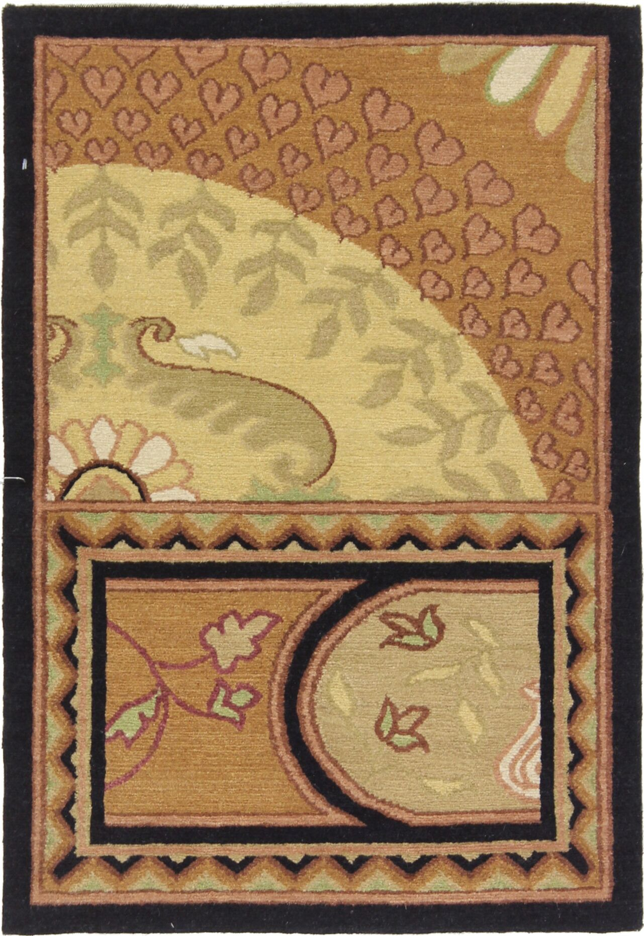 One-of-a-Kind Audubon Indo Hand-Knotted Wool Brown Area Rug