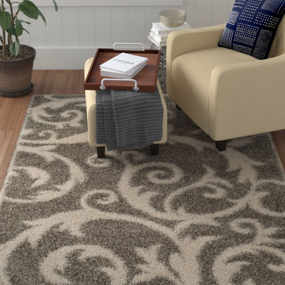 Byrnedale Shag Light Gray Area Rug  Rug Size: Round 6'7