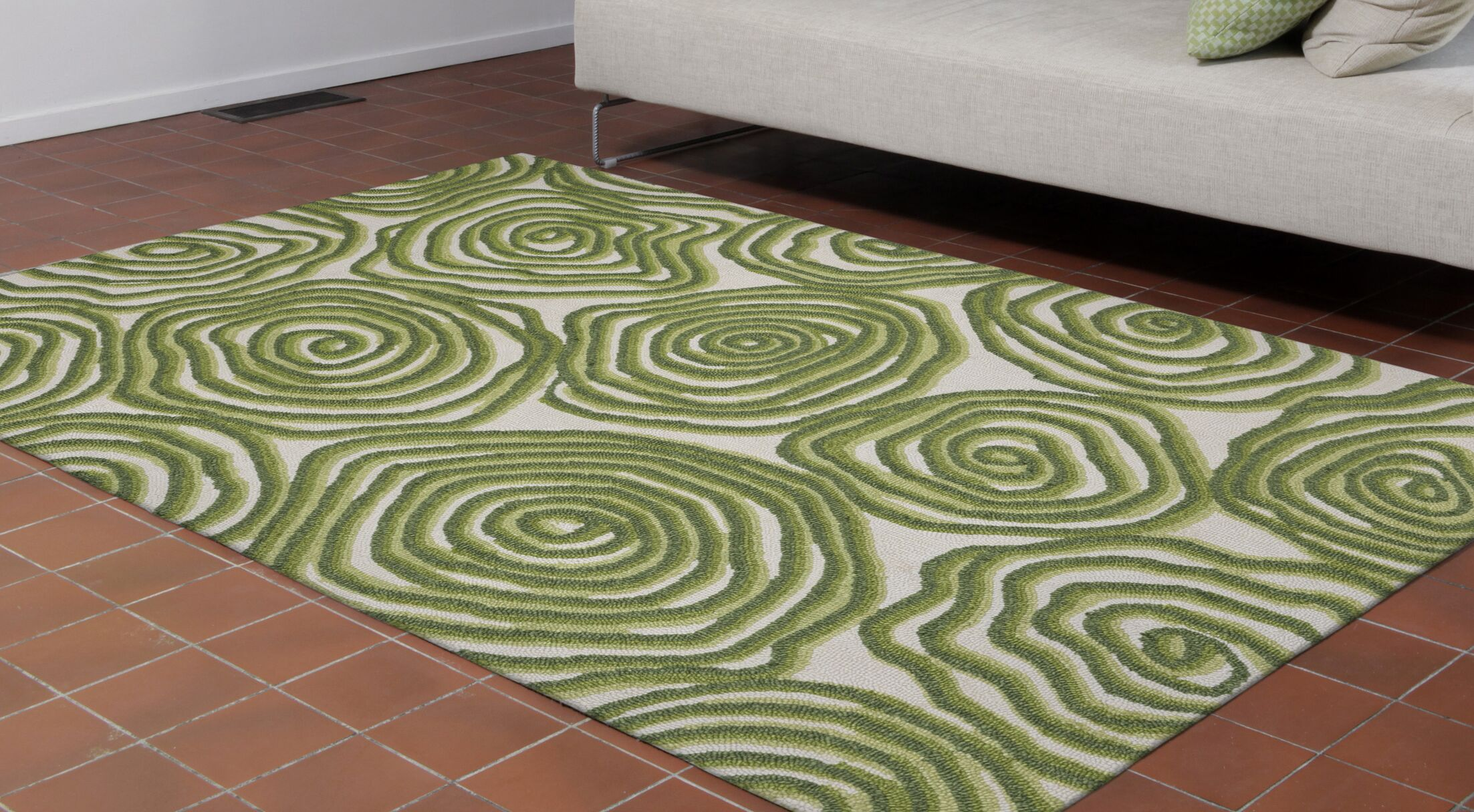 Nancee Block Print Hand-Tufted Green Area Rug Rug Size: Rectangle 8'3