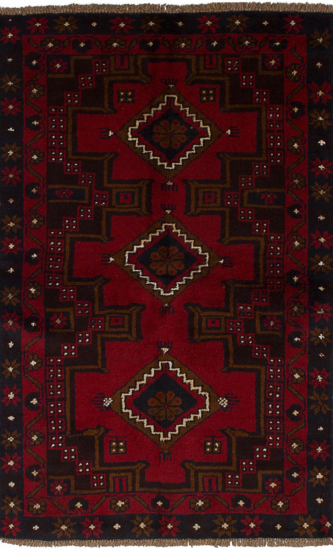 One-of-a-Kind Alaniz Hand-Knotted Wool Red/Black Area Rug
