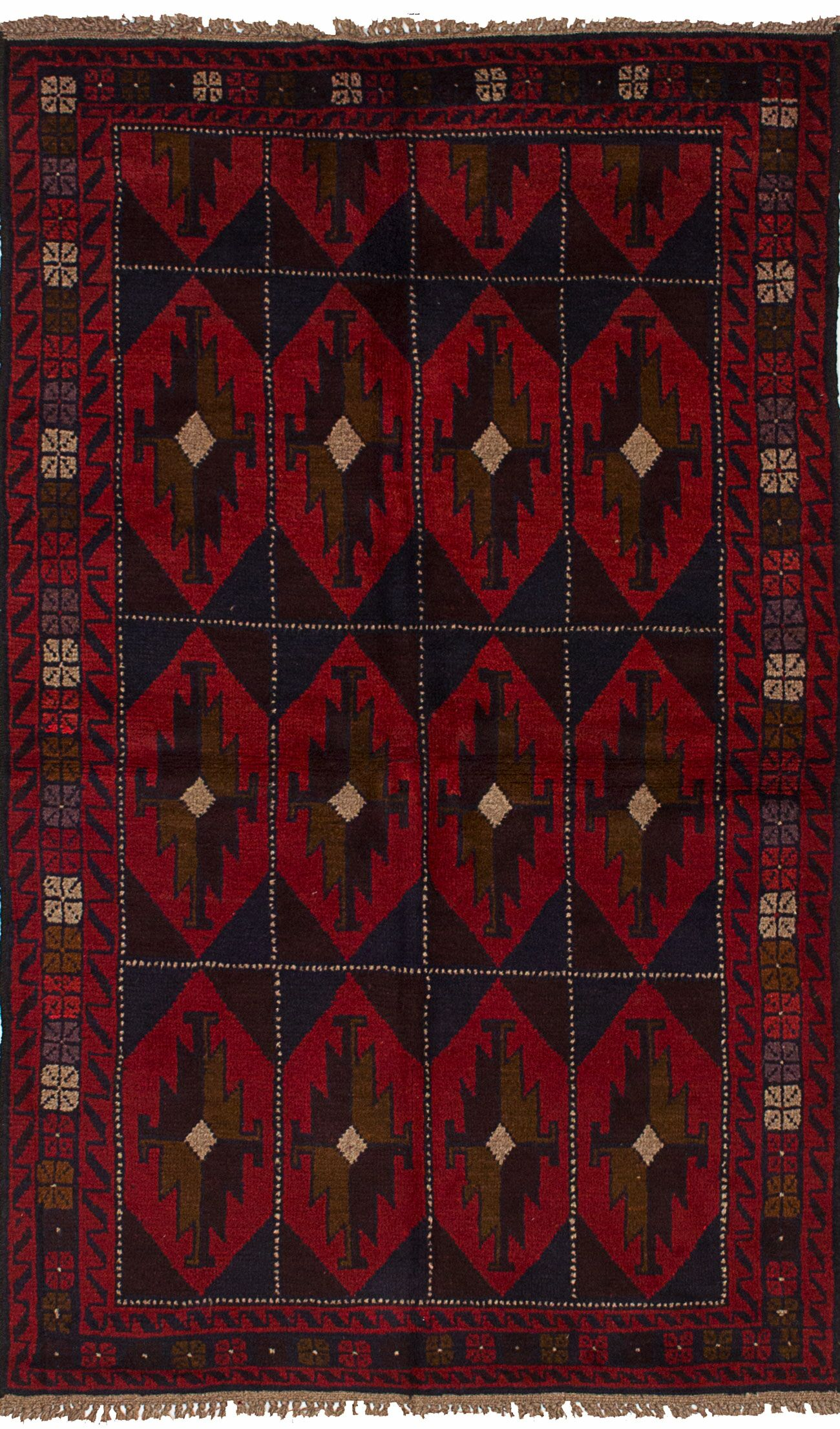 One-of-a-Kind Alanna Hand-Knotted Wool Red/Navy Area Rug