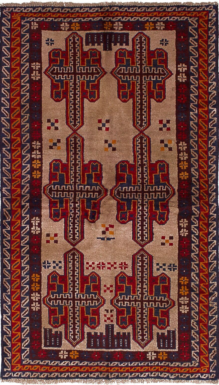 One-of-a-Kind Alanna Hand-Knotted Wool Beige/Red Area Rug