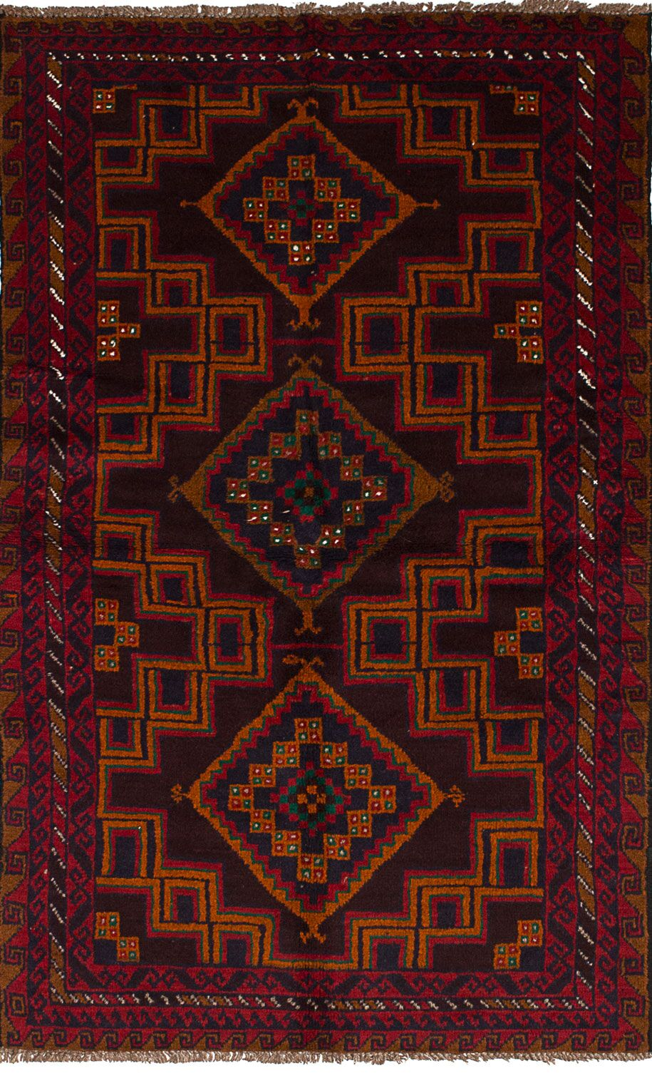 One-of-a-Kind Alaniz Hand-Knotted Wool Dark Brown/Red Area Rug