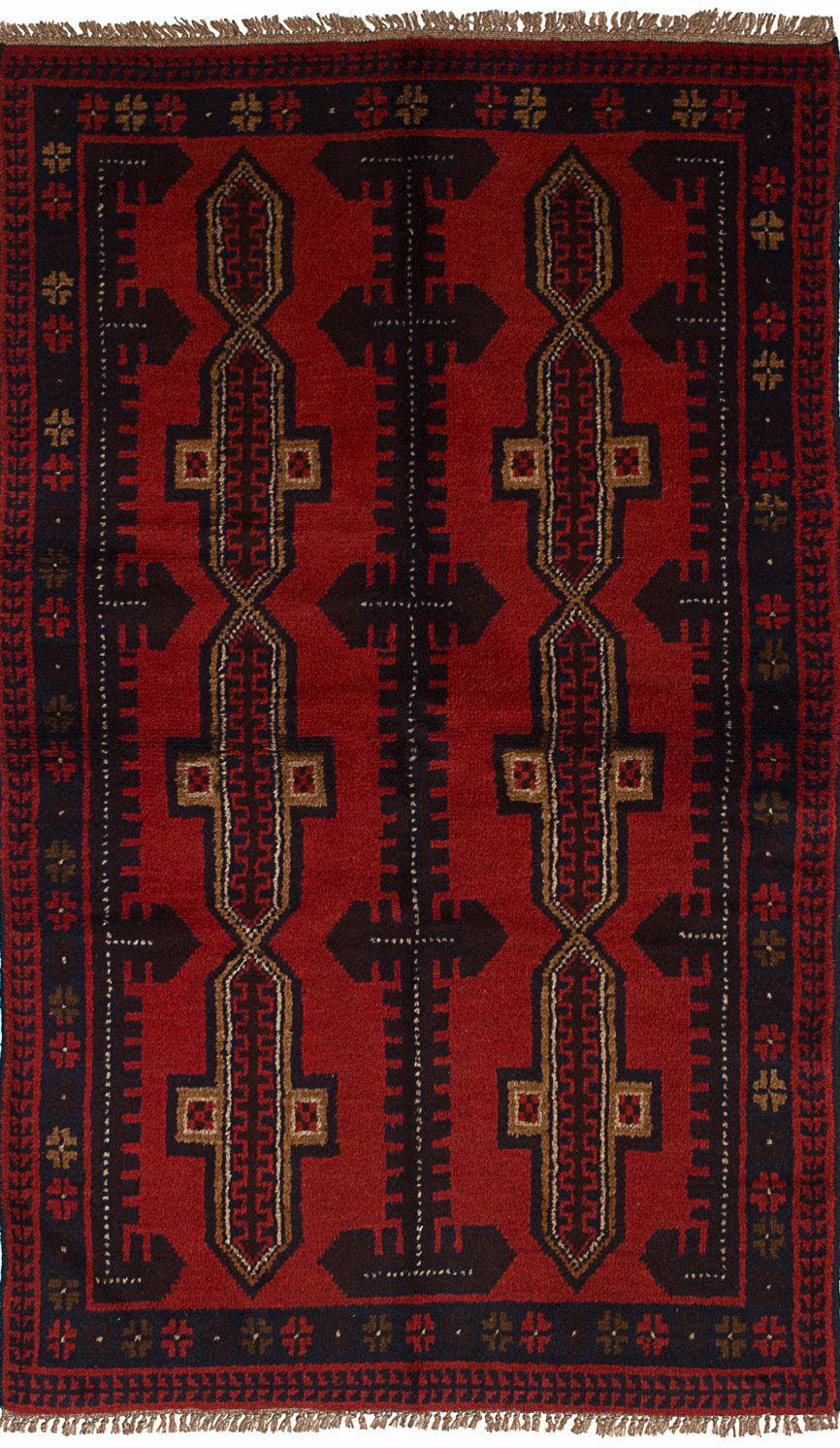 One-of-a-Kind Alanna Hand-Knotted Wool Red/Black Area Rug