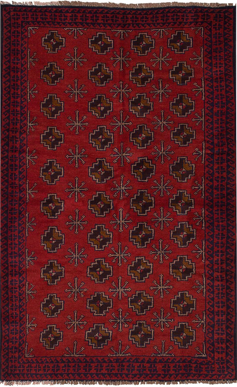 One-of-a-Kind Alana Hand-Knotted Wool Red/Navy Area Rug