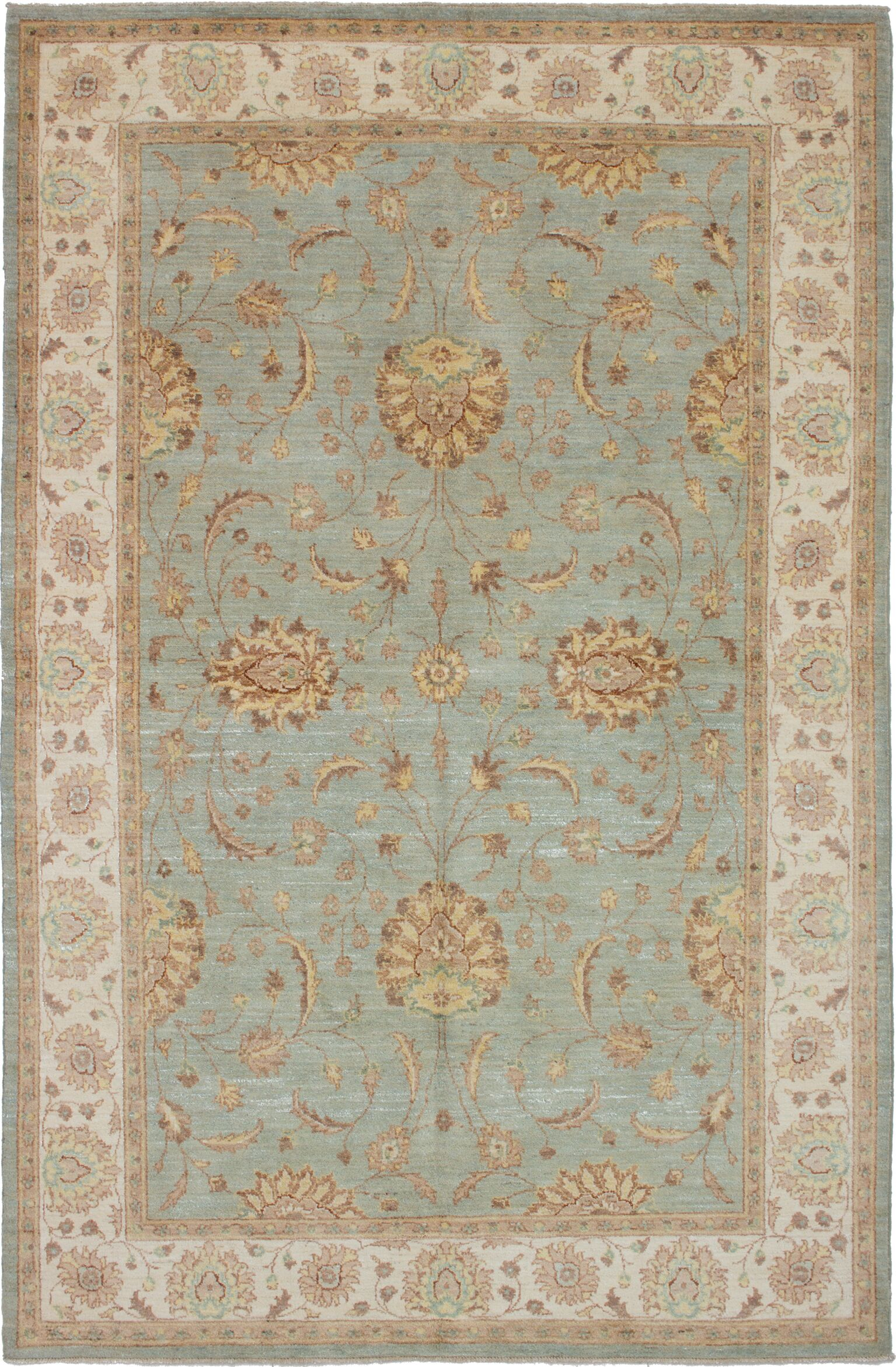 One-of-a-Kind Alasan Hand-Knotted Wool Light Blue Area Rug