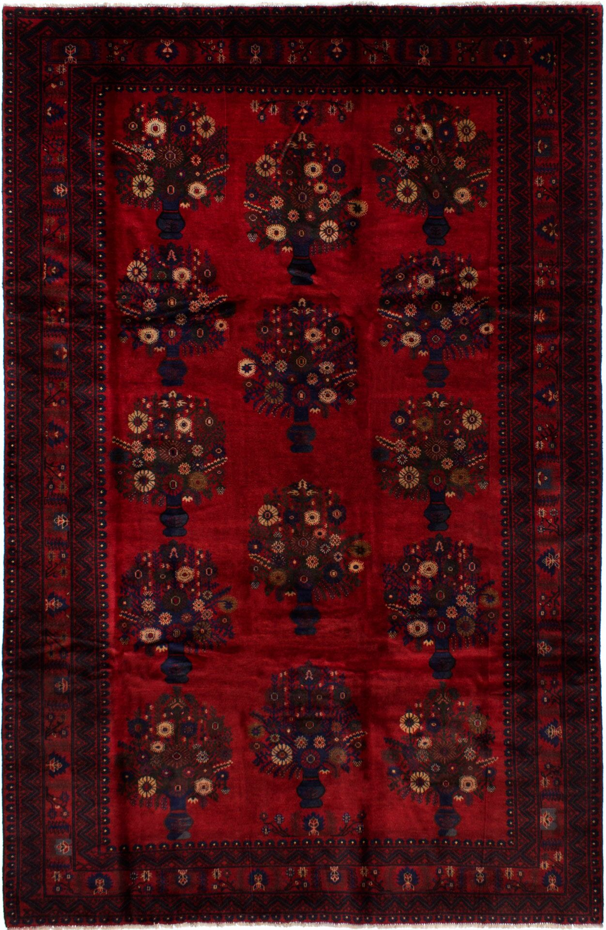 One-of-a-Kind Alaska Hand-Knotted Wool Dark Red Area Rug