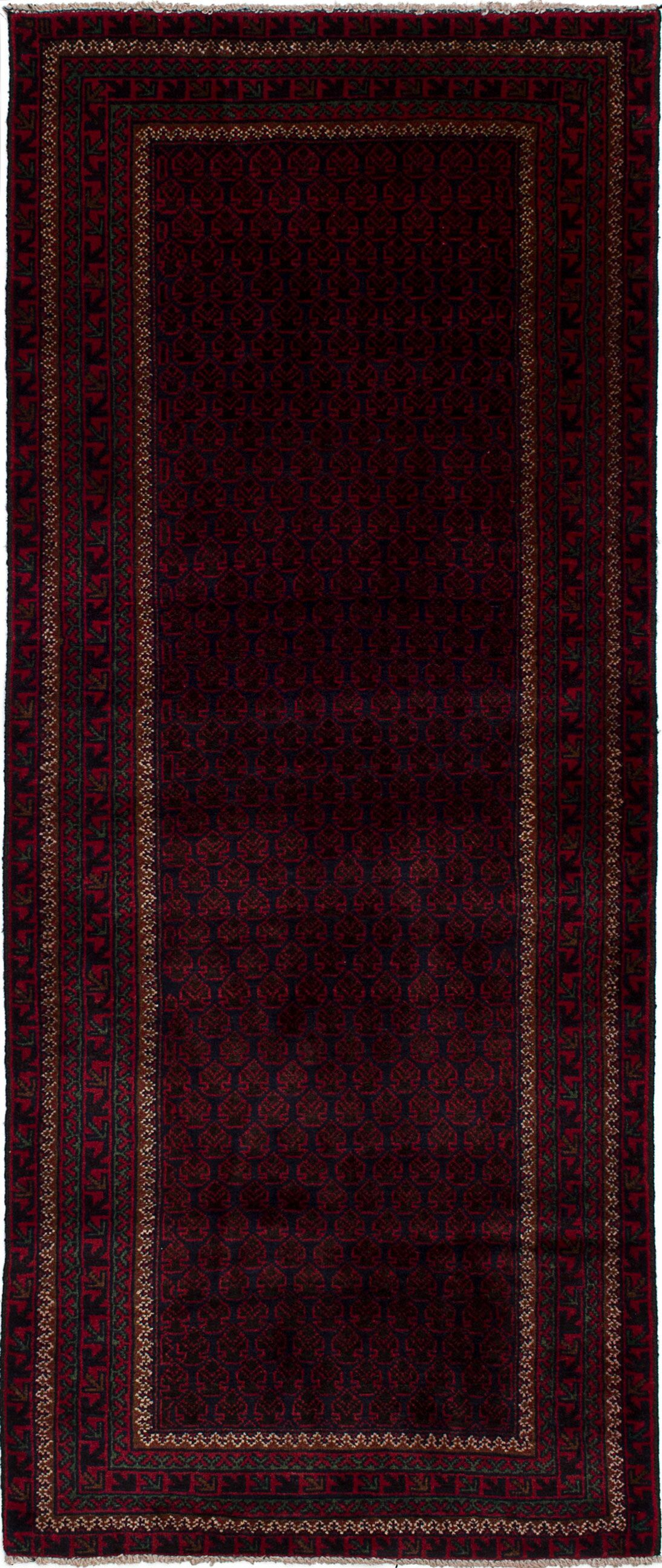 One-of-a-Kind Alaska Hand-Knotted Wool Dark Navy/Red Area Rug