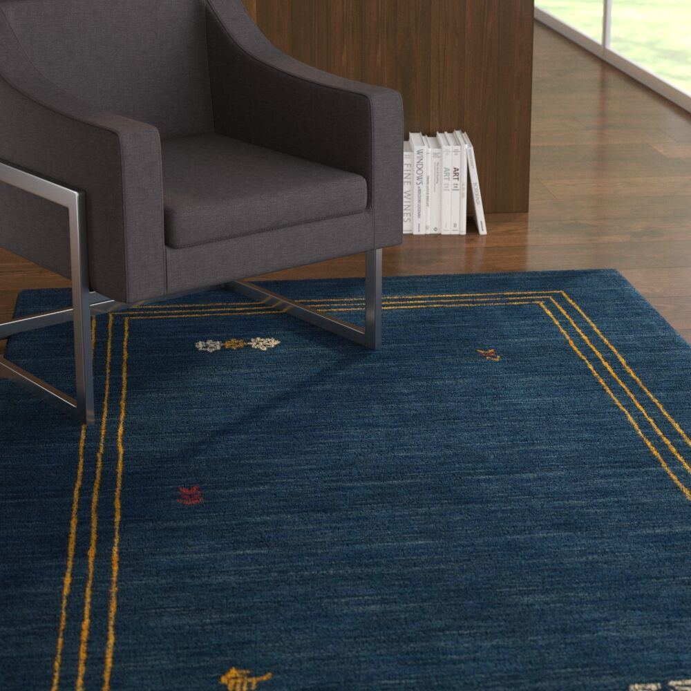 Hossain Hand-Loomed Wool Blue Area Rug Rug Size: Rectangle 3' x 5'