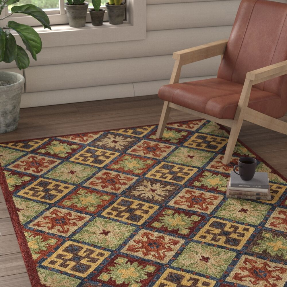 Oribe Quilt Hand-Tufted Wool Green/Brown/Red Area Rug Rug Size: Runner 2'6