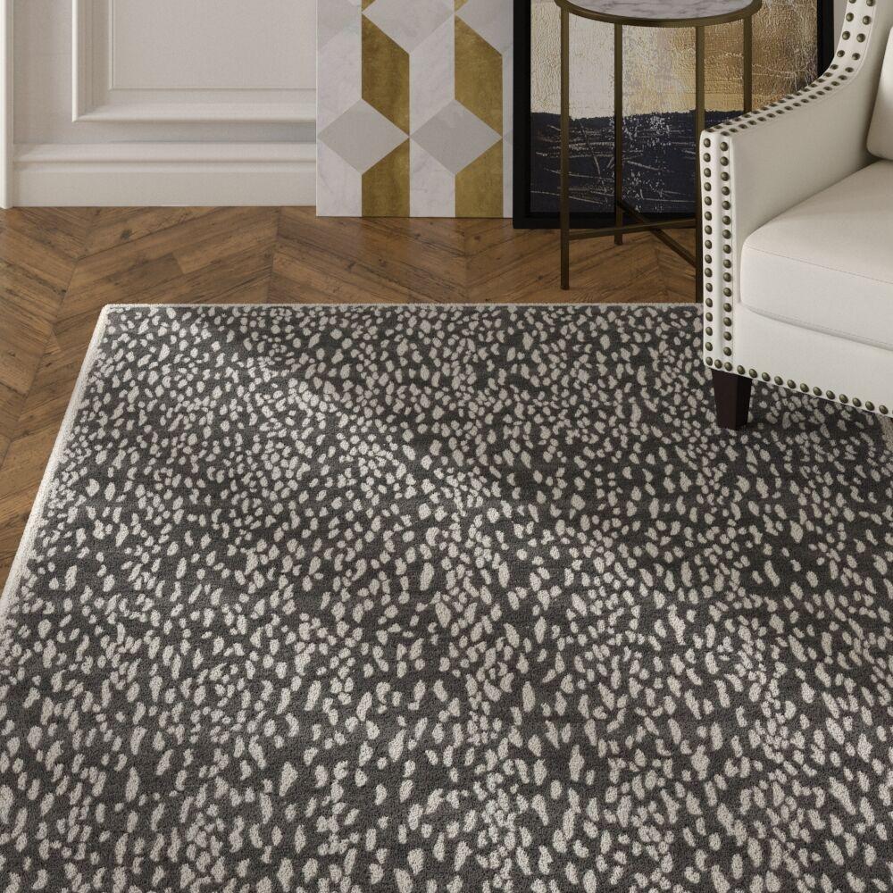 Ankit Hand Tufted Dark Grey/Ivory Area Rug Rug Size: Rectangle 4' x 6'