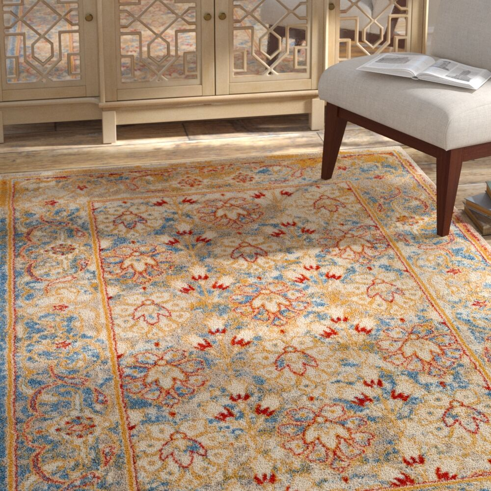 Parrett Transitional Ivory Area Rug Rug Size: Round 6'7