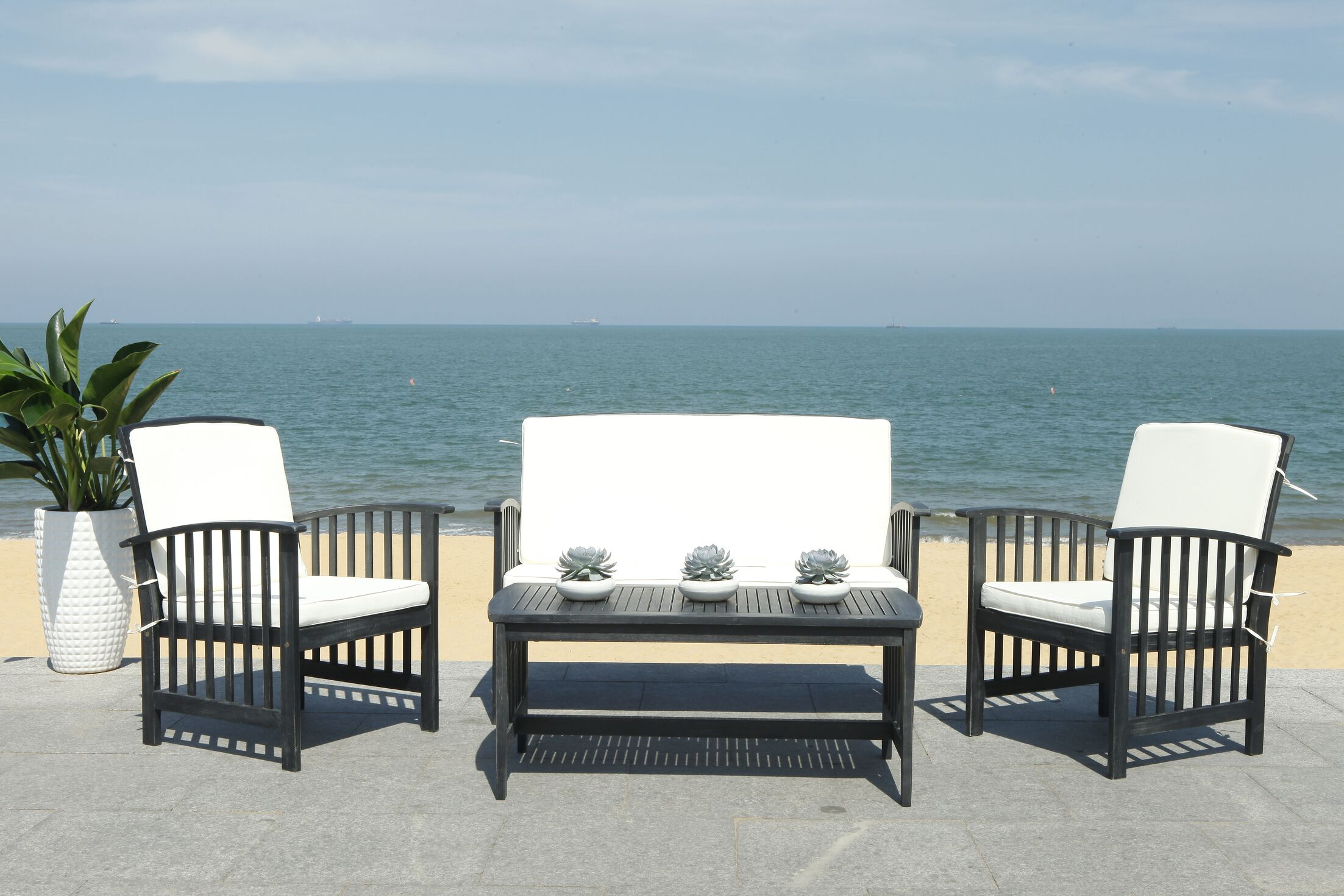 Simmons Outdoor 4 Piece Sofa Seating Group with Cushions