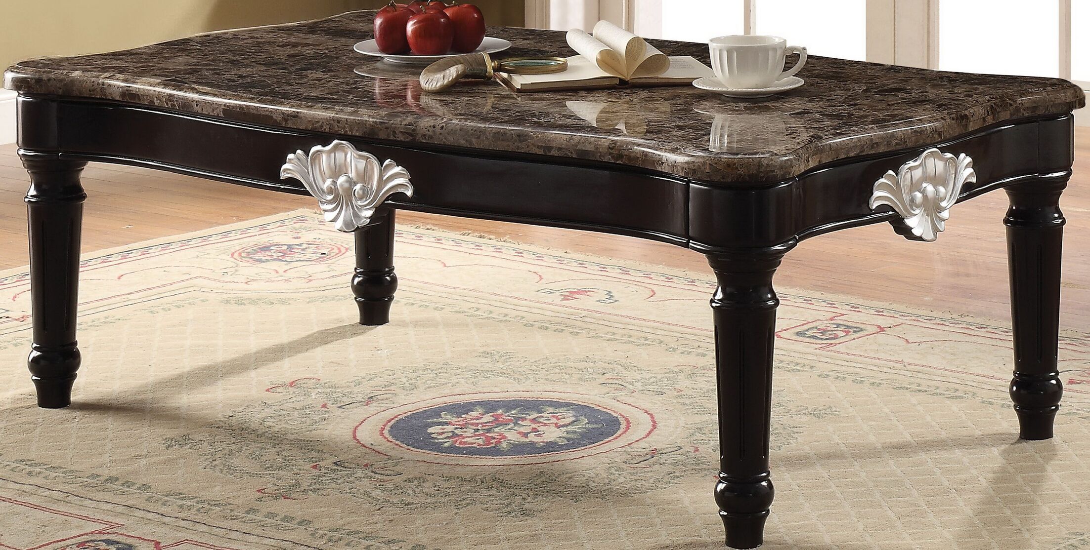 Mcclellan Coffee Table with Marble Top