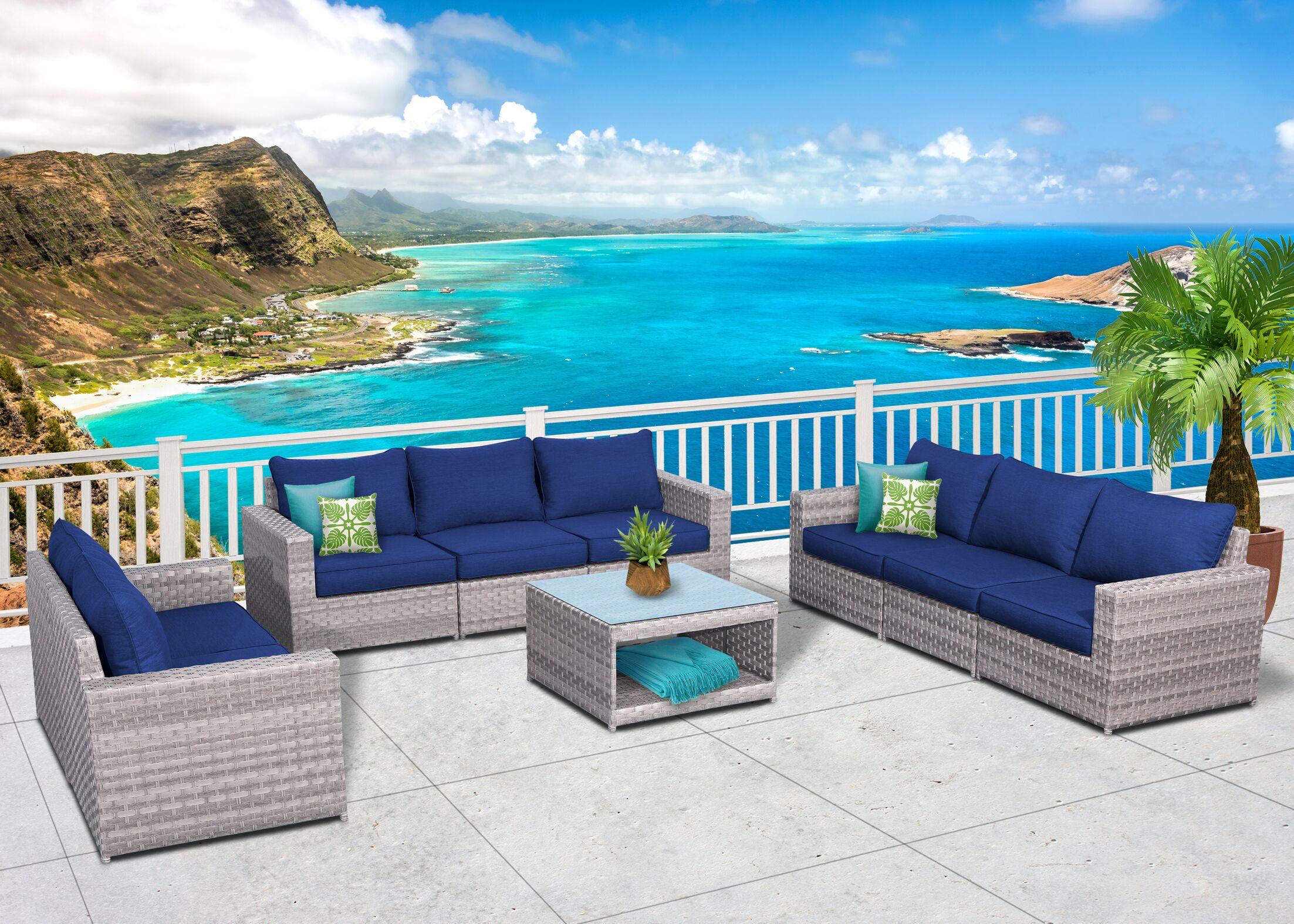 Burkley Olefin 9 Piece Sofa Seating Group Cushion Color: Navy Blue