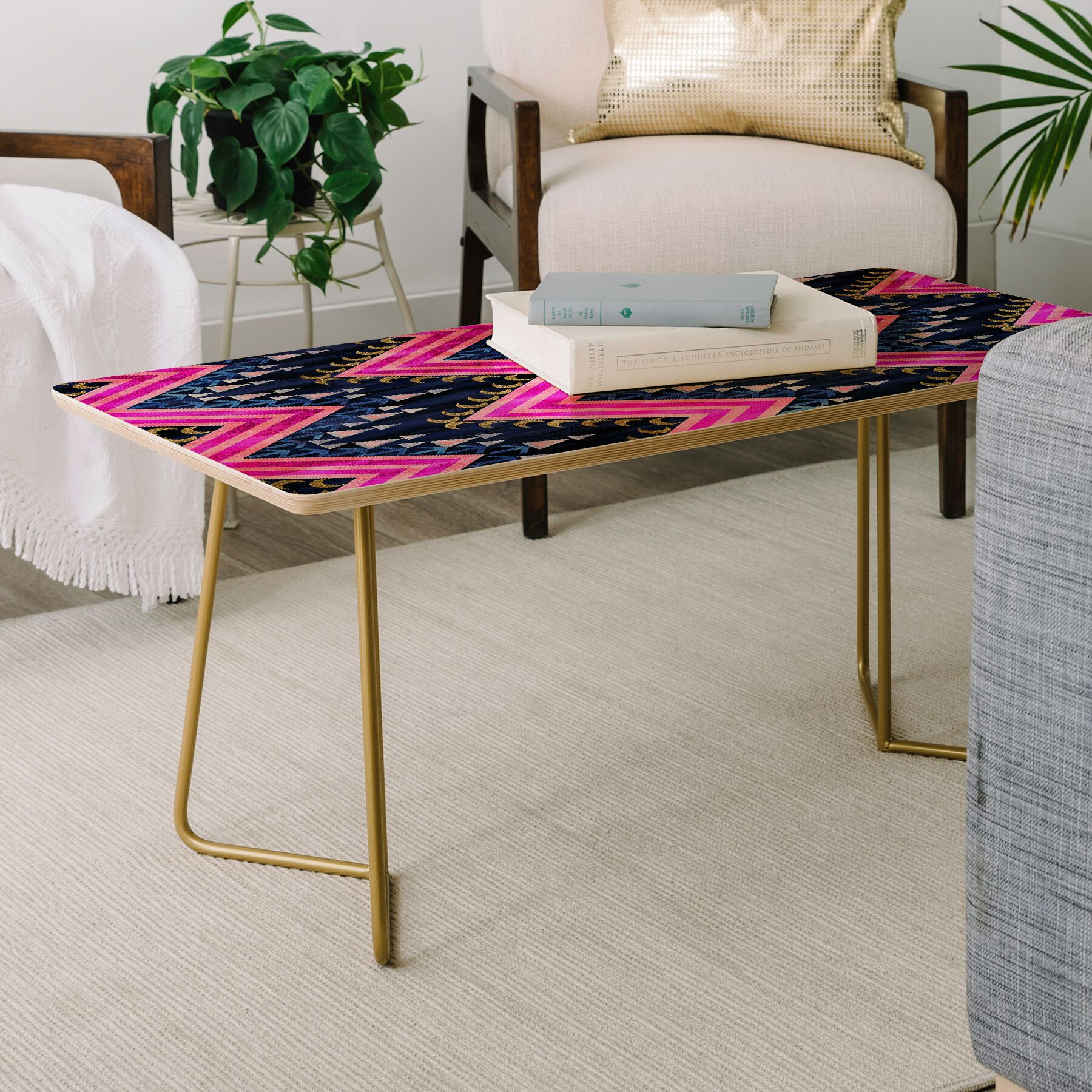 Schatzi Pena Chevron Coffee Table Color: Pink/Navy