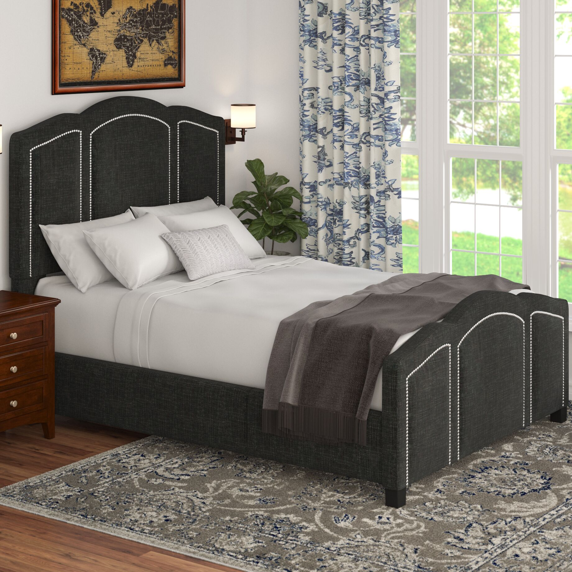 Niagara Queen Upholstered Panel Bed Color: Linen- Charcoal