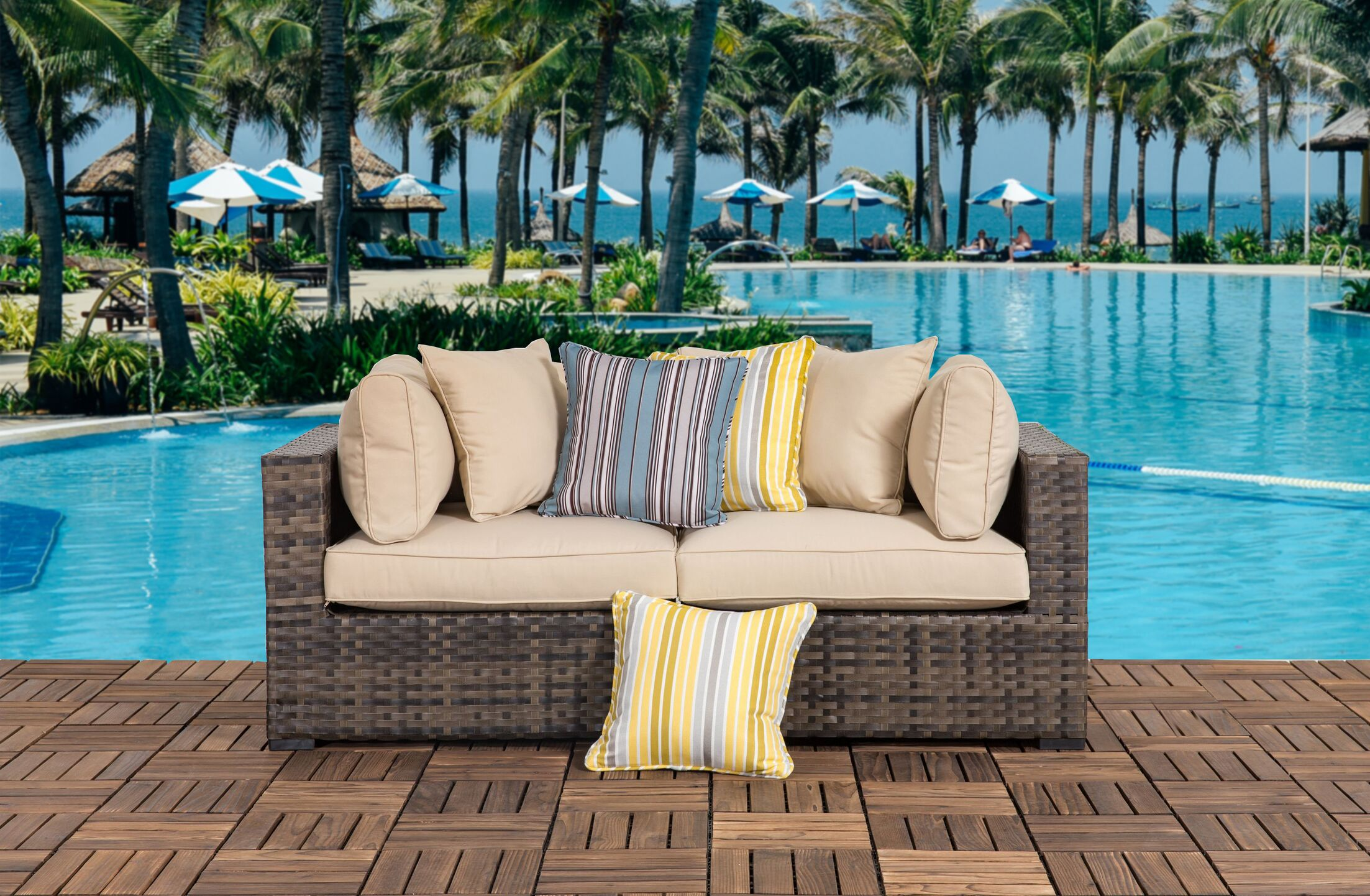 Hartman Outdoor 2 Piece Sofa Seating Group with Cushions