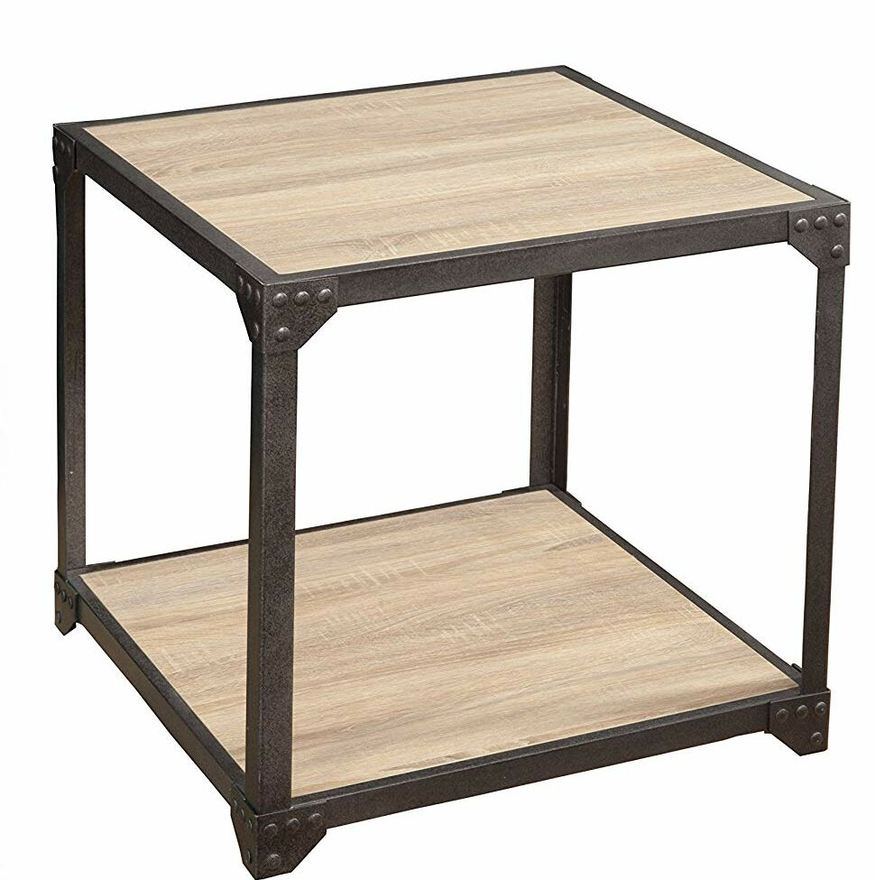 Ben Wood and Metal Loft End Table Color: Beige