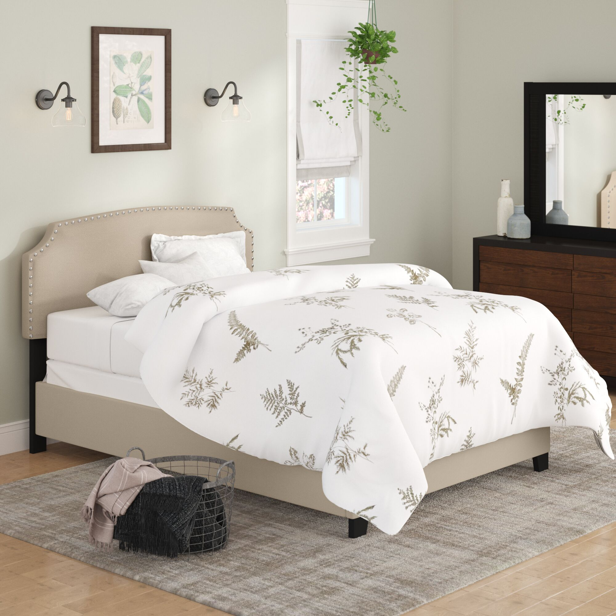 Dupre Upholstered Panel Bed Color: Cream, Size: Queen