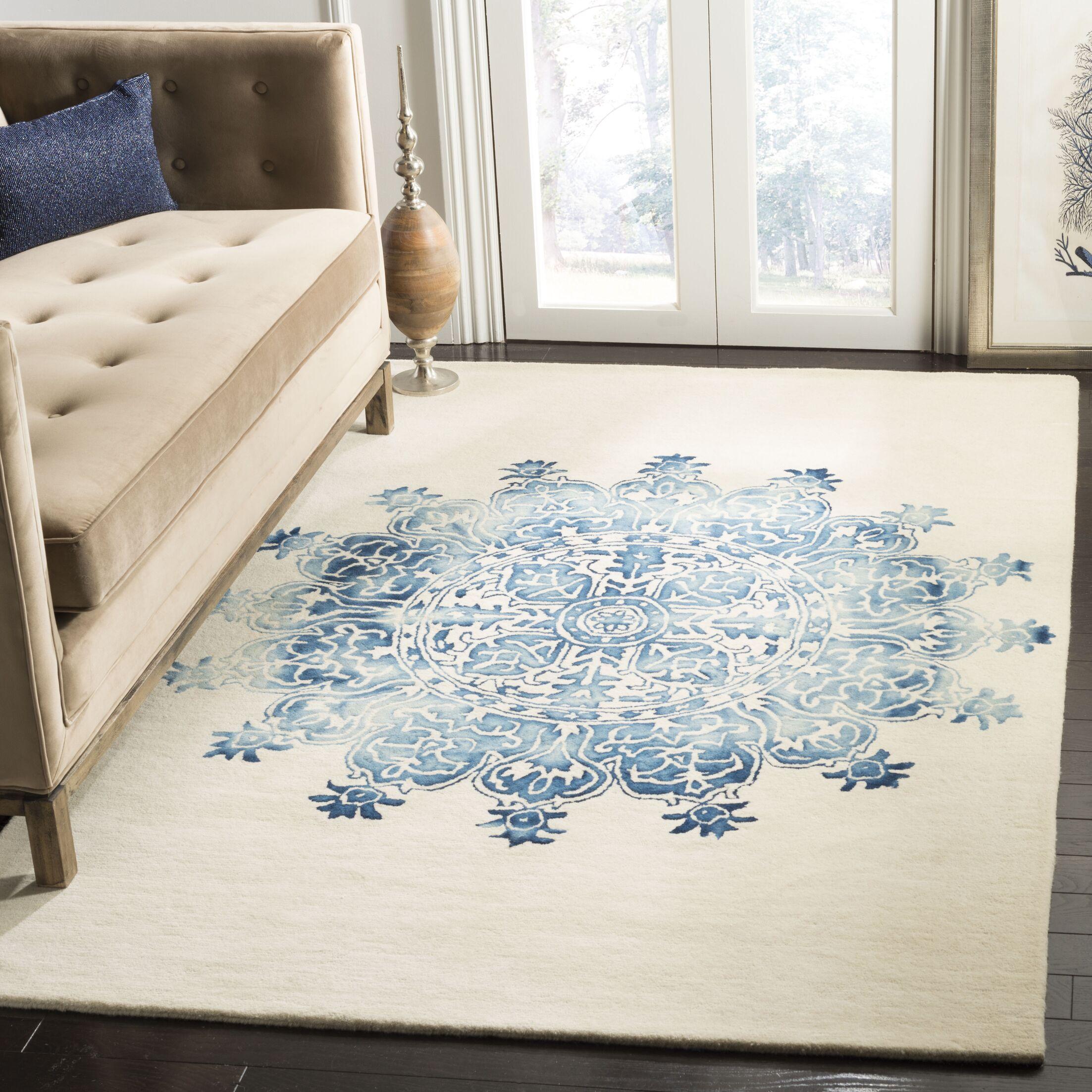 Katz Hand-Tufted Wool Blue/Beige Area Rug Rug Size: Square 7'