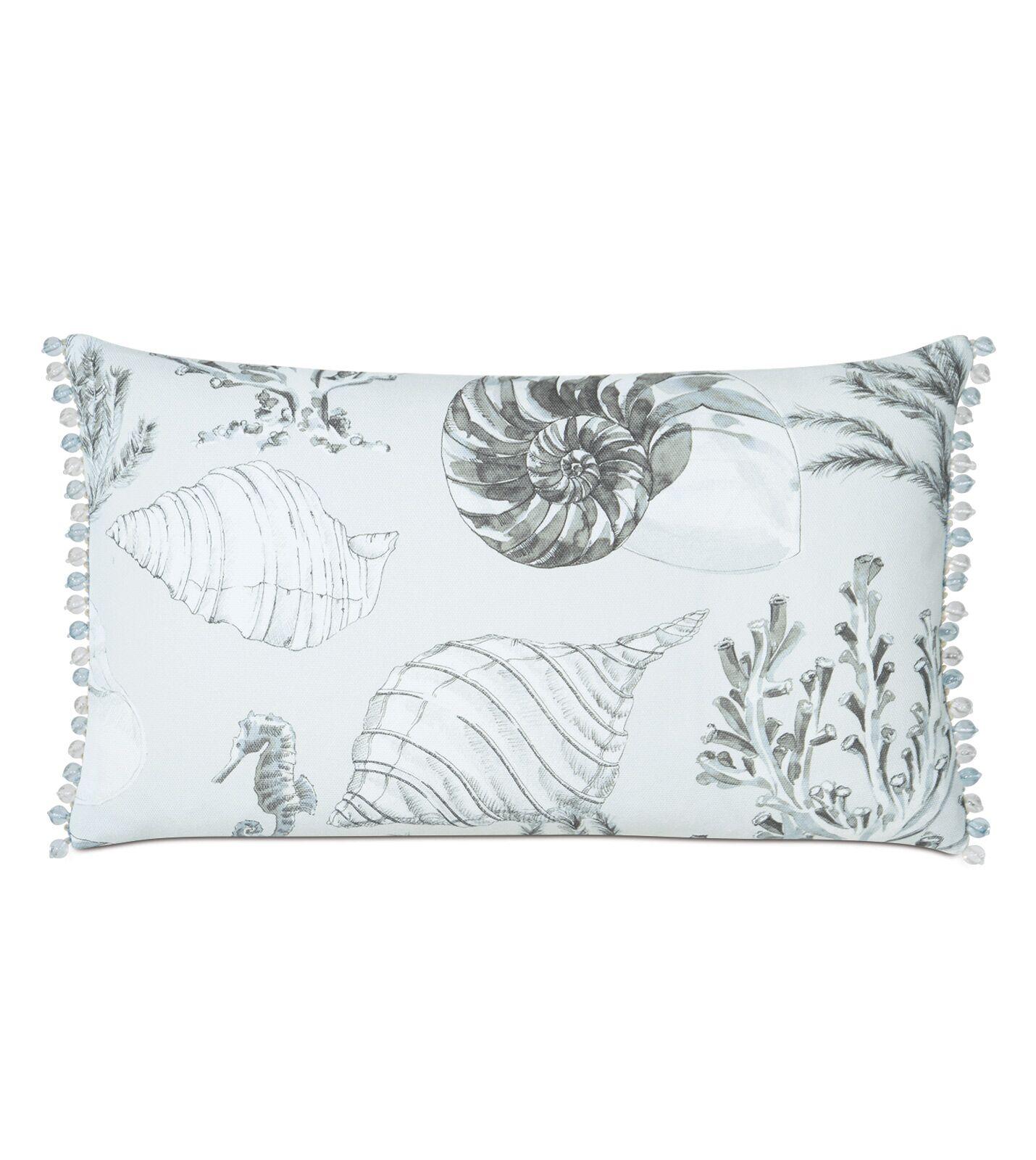 Nerida Coastal Bead Trim Cotton Lumbar Pillow