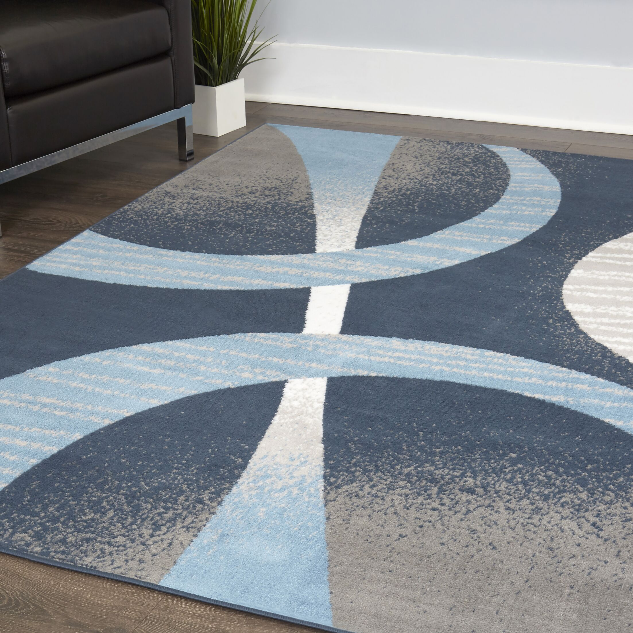 Simeon Blue/Brown Area Rug Rug Size: Rectangle 5'2