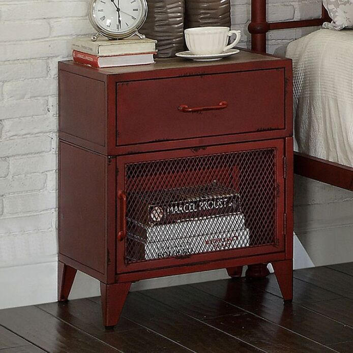Mcwilliams 1 Drawer Nightstand Color: Red