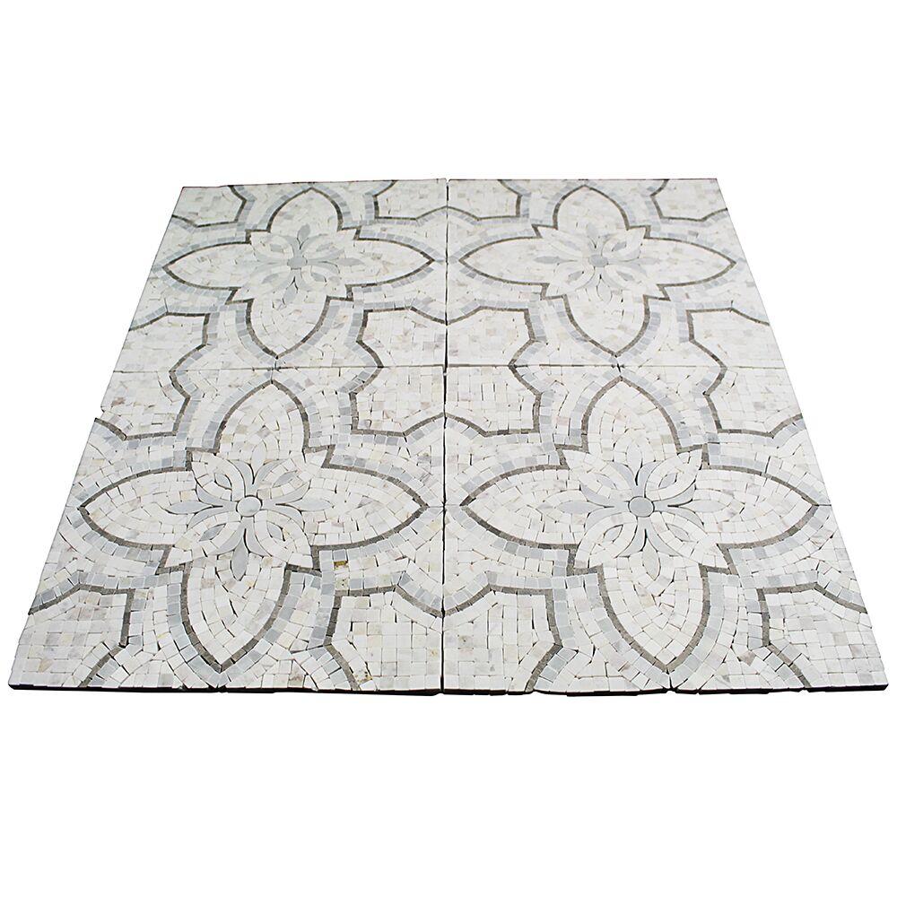 Garden Random Sized Marble Mosaic Tile in White/Gray