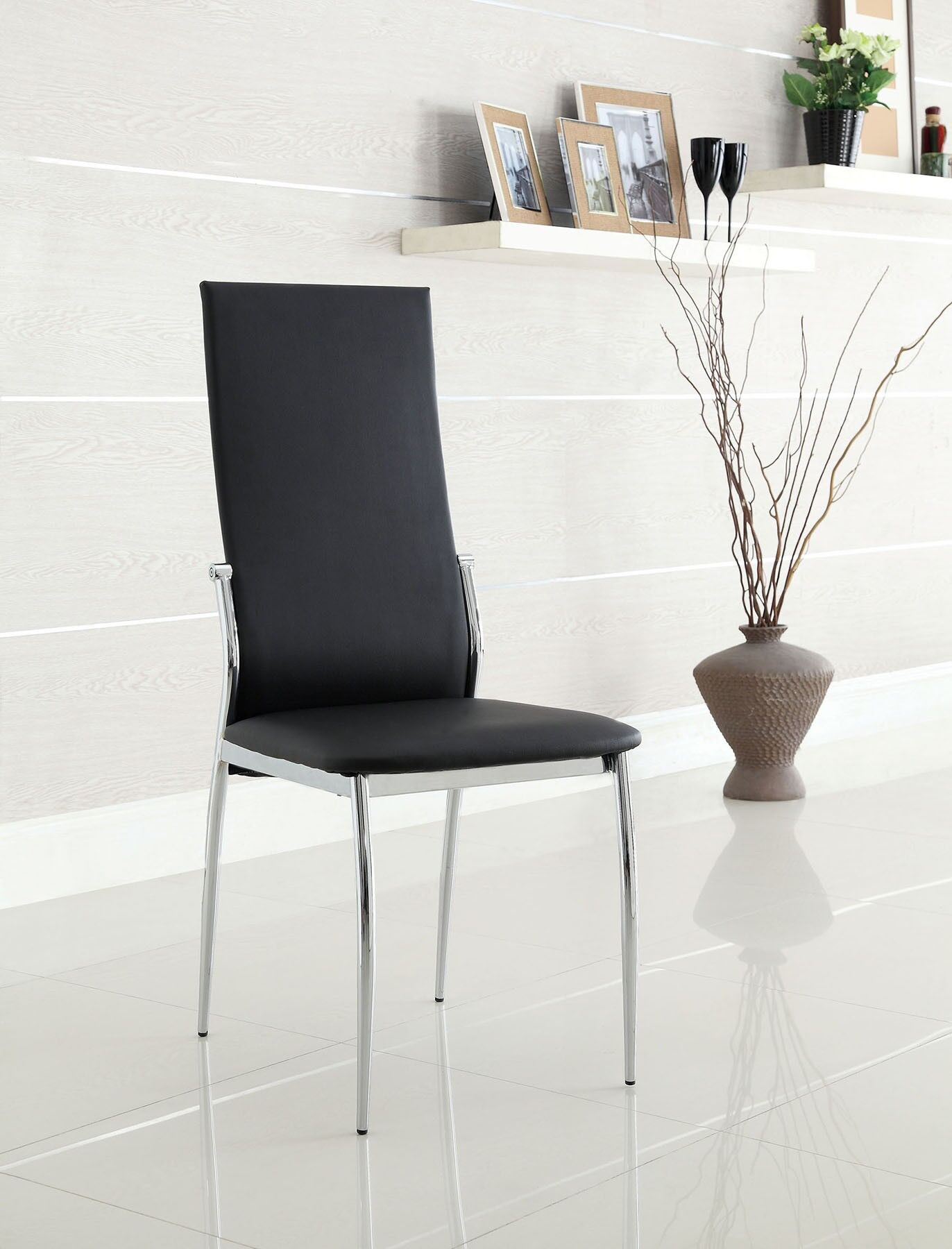 Walton Upholstered Dining Chair Upholstery Color: Black