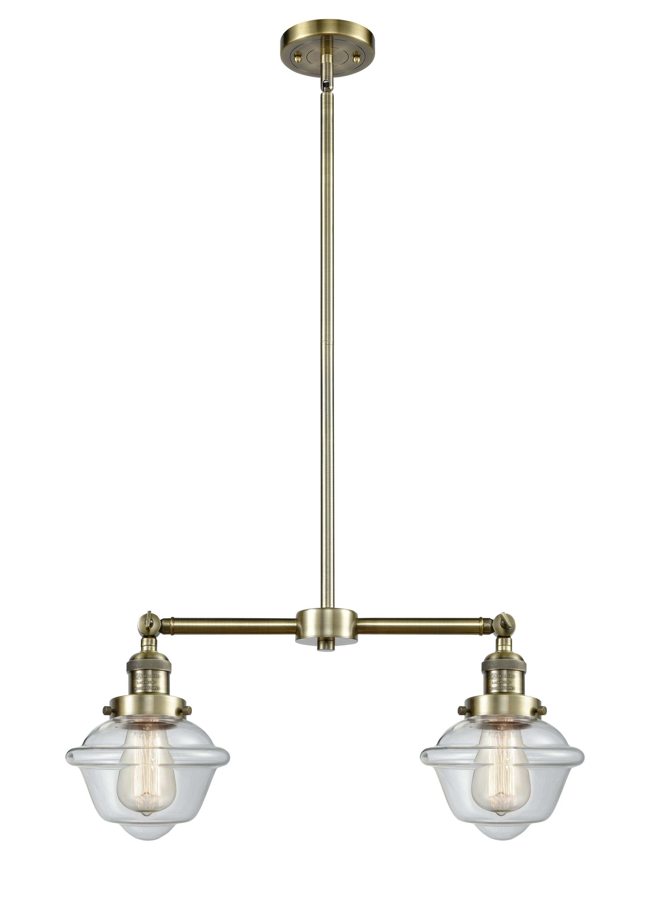 Calliope 2-Light Kitchen Island Pendant Finish: Antique Brass, Bulb Type: Incandescent, Shade Color: Clear