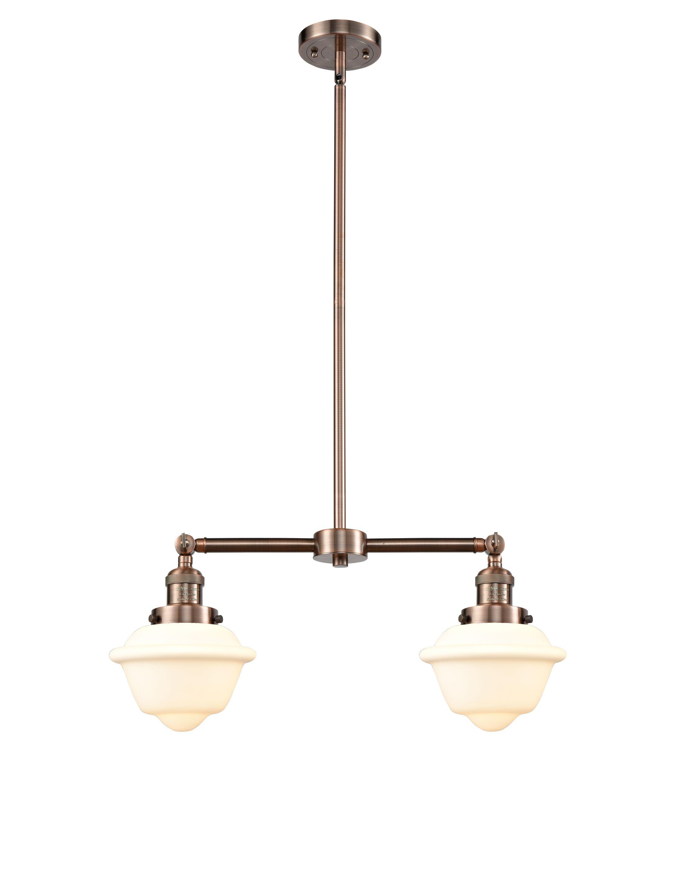 Calliope 2-Light Kitchen Island Pendant Bulb Type: Incandescent, Shade Color: Clear, Finish: Antique Copper