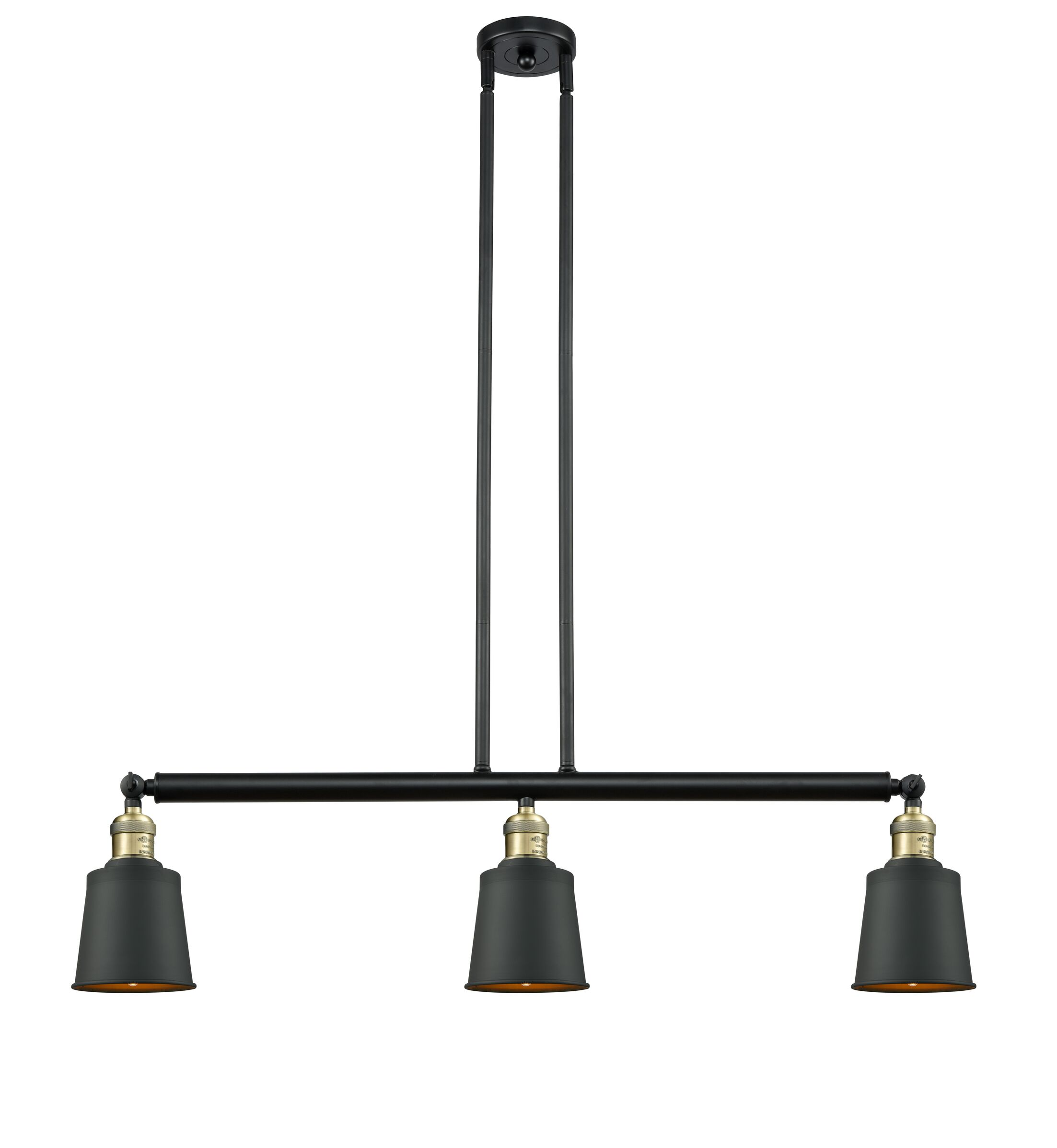 Carn 3-Light Kitchen Island Pendant Bulb Type: Incandescent, Finish: Black Antique Brass