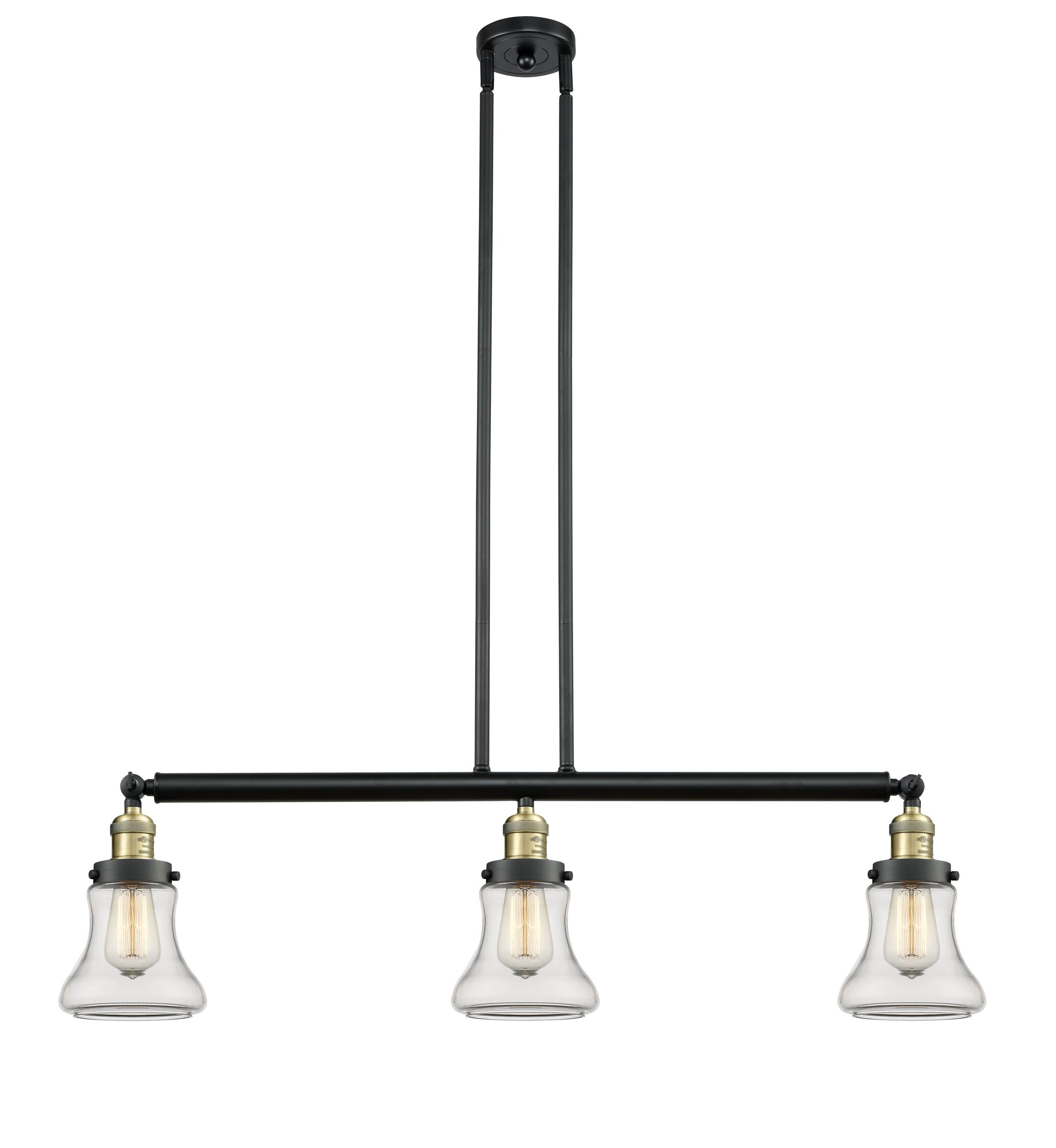Nardone 3-Light Kitchen Island Pendant Shade Color: Clear, Bulb Type: Incandescent, Finish: Black Antique Brass