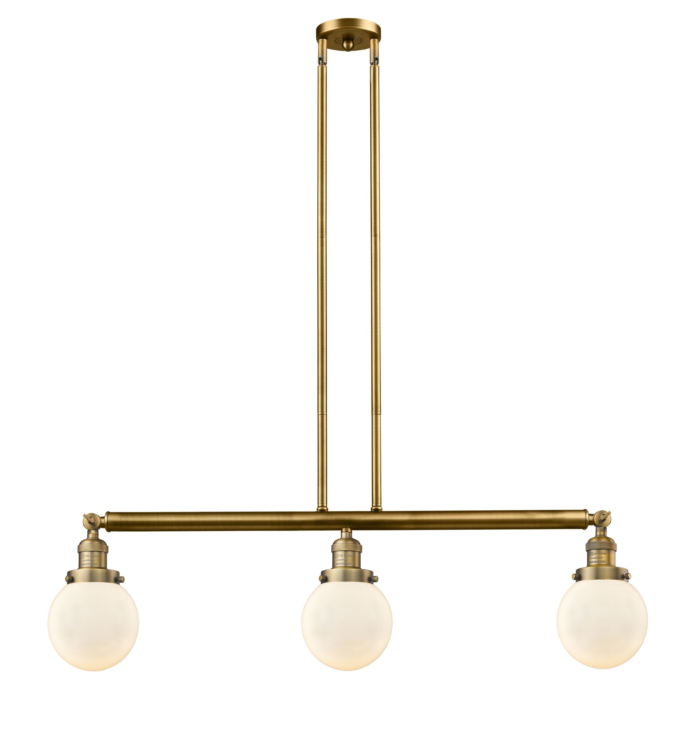 Jackeline 3-Light Kitchen Island Pendant Bulb Type: LED, Shade Color: Seedy, Finish: Brushed Brass
