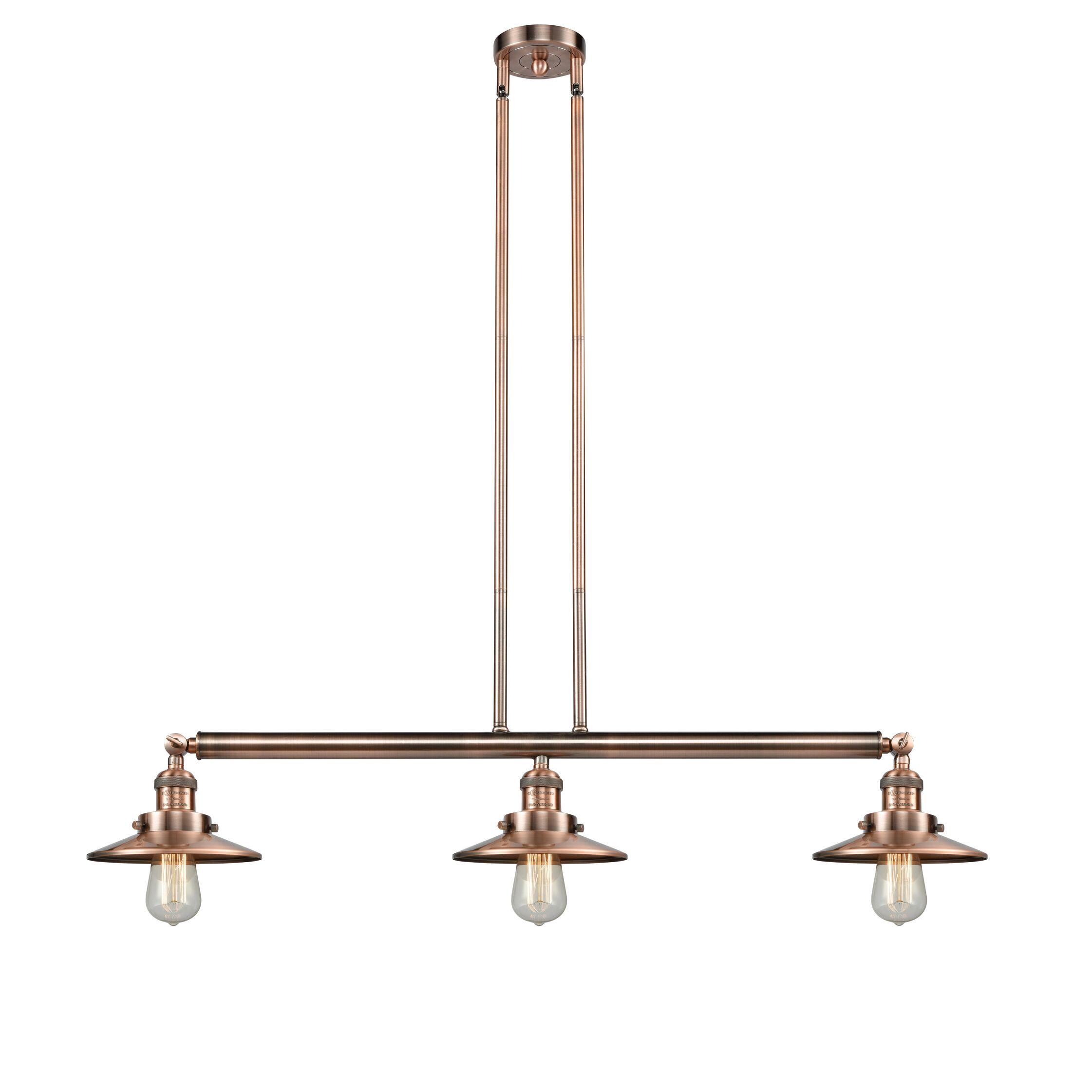 Railroad 3-Light Kitchen Island Pendant Bulb Type: LED, Finish: Brushed Satin Nickel